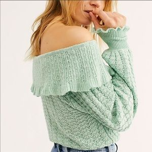 FREE PEOPLE Mint Crazy in Love Ruffle Sweater